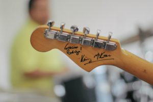 autographed guitar head